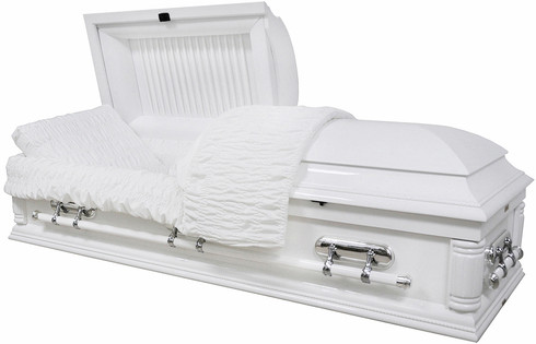 W8732 FS  Solid Poplar white wood casket
