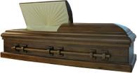 W-8808-FS  Solid Black Walnut hardwood casket, Velvet lining Star Optional  Jewish