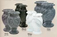 Marble vases of size and color.