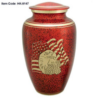Urn HK 9147 Bronze Eagle on Red with American Flag