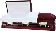 M-8282-FS   - 18 Gauge Steel Casket Burgundy finish - Quilted Velvet - Gold Hardware