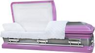 M-8410-FS  - 18ga Lavender (Light Purple) Casket W/ Natural Brush White Velvet Interior, Silver Hardwar