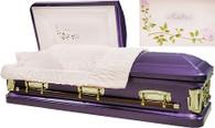 M-8388-FS  - Purple Mother Casket w/ 2 Roses, 18ga Pink Velvet