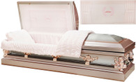 M-8329-FS  - Mother Casket w/ Curtains Head Panel, 18ga Silver Rose Finish w/ Silver Brush Rose Tan