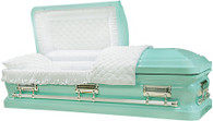 M-8394-FS   - Tiffany Blue Casket White Quilted Velvet - Silver Hardware