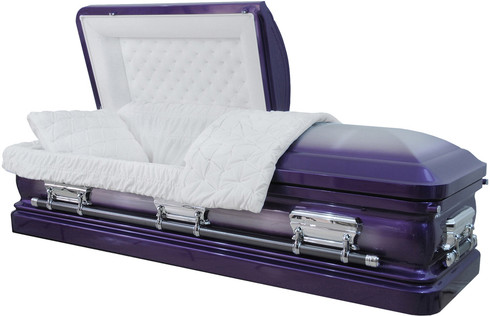 M-8205-FS   - 18 Gauge Steel Casket Purple Casket - Natural Brush - White Velvet