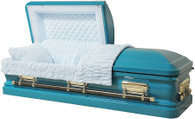 M-8212-FS    - 18 Gauge Steel Casket Turquoise Casket, Actually Is White Velvet