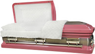 M-8409-FS  - 18ga Pink Casket W/ Natural Brush White Velvet Interior, Silver Hardware