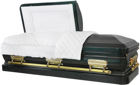 M-8231-FS   - Huntington Green Casket 18ga White Velvet Interior, Gold Hardware