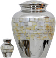Urn 095-A - Brass Urn Velvet Box plus 1 Keepsake Silver with Pearl inlay