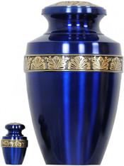 Urn 062-A - Brass Urn Velvet Box plus 1 Keepsake Navy Blue