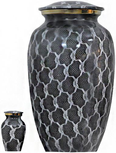 Urn 127-A - Brass Urn Velvet Box plus 1 Keepsake Gray and White