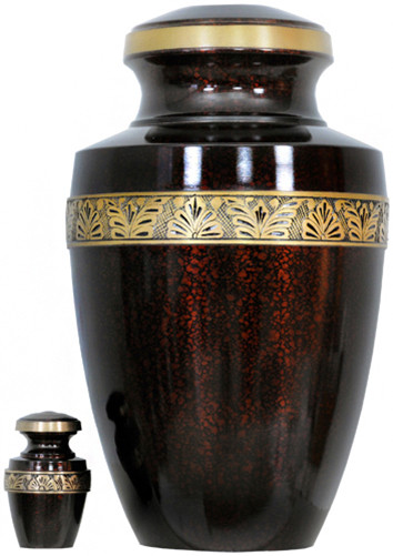 Urn FS 141-A - Brass Urn Velvet Box plus 1 Keepsake Dark Red