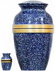 Urn FS 129-A - Brass Urn Velvet Box plus 1 Keepsake Blue with Gold Trim