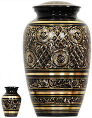 Urn FS 069-A - Brass Urn Velvet Box plus 1 Keepsake Black with Gold Design