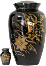 Urn FS 012-A - Brass Urn Velvet Box plus 1 Keepsake Black/ Mirror Finish