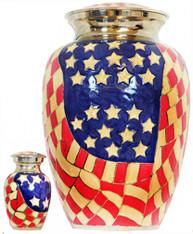 Urn FS 017-A - Brass Urn Velvet Box plus 1 Keepsake Red White & Blue