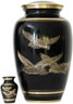 Urn FS 009-A - Brass Urn Velvet Box plus 1 Keepsake Black/ Gold Trim