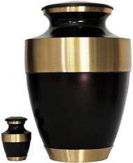 Urn FS 021-A - Brass Urn Velvet Box plus 1 Keepsake Brown with Gold Trim