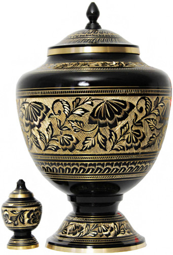 Urn FS 043-A - Brass Urn Velvet Box plus 1 Keepsake Black with Gold Trim