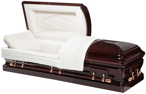 """W-8877-FS Solid Mahogany  8877 - Solid Mahogany Mahogany Wood Almond Velvet Interior Half Couch Eternal Rest Adjustable Bed Matching Pillow and Throw Locking Mechanism Swing Bar Handled Hardware Brass Accessories    Casket Dimensions  Exterior width of casket: 29.5"""" Exterior length of casket: 81"""" Exterior height of casket: 23 1/4"""" Interior width: 25"""" Interior length: 79"""" Actual Weight: 280 pounds Weight Capacity: 500 pounds"""