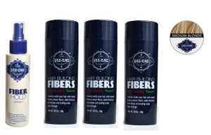 Bundle 4 Items : 3 Hair Fibers Light  Blonde  + Fiber Hold Spray
