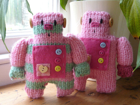 Little Robot Knit Kit pink and stripy