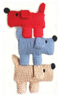 Scruff The Dog Learn To Knit Kit. Shown in Red, Blue, Tan.