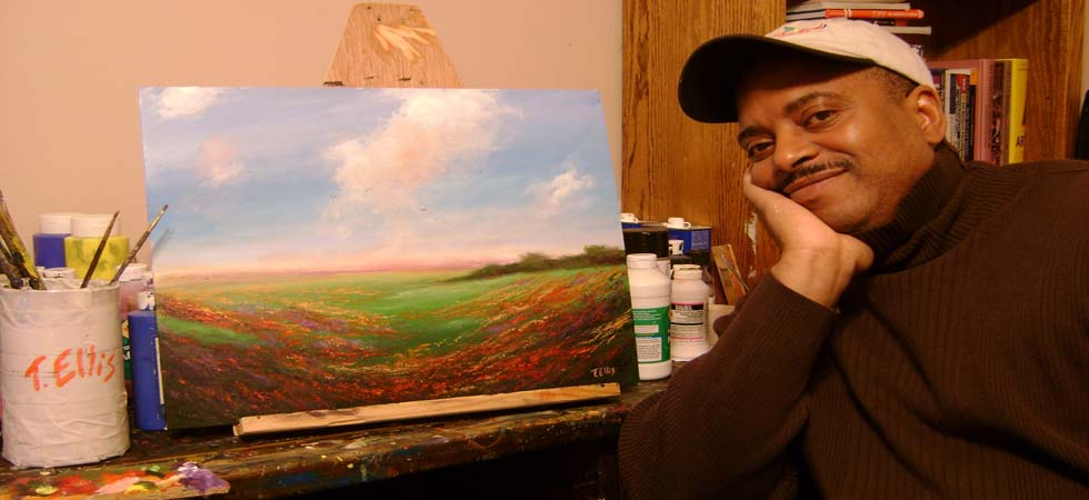 Artist T. Ellis in his art studio