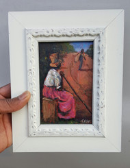 "My Son is Heading North, 6x4, miniature original by T. Ellis framed $725.00  One of America's premiere famous African-American artists, with his unique style of painting,    One of America's premiere famous African-American artists, with his unique style of painting, known as ""Tedism"".  A dynamic blend of impressionism and the raw soulful expression of ""folk"", defines the painting technique used by Ted T. Ellis to create visual masterpieces, large and small.    T. Ellis , for over 30 years has been chronicling the African-American experience, boldly documenting African-American lifestyle, history and culture on canvas. His works of art adorn the walls of museums and private collectors throughout the United States.   Many of his collectors for years, have applauded his smaller painting, so much has been said of how T. Ellis captures moments of history and feeling on a very small scale, it speaks to his talent to emote his feelings on canvas. Those smaller paintings are just as impactful as his larger ones.  ""His talent is amazing!!! As one of his long time collectors noted.  Now, T. Ellis has embarked on a mission committed to create a unique body of miniature originals that speaks the the enduring legacy of African-American History and Culture. A very important collection that will travel the United States exhibiting in museums, universities, and cultural institutions, and in the possession of private collectors.  Miniature painting has been around for over a thousand years,a genre of art that focuses on very small sculptures, engravings and paintings that normally fit in the palm of your hand.  There are several international and national organizations that seriously promote the value of miniature art. These miniature treasures are prized by collectors and art institutions.  T. Ellis is poised to make an indelible impression on the world of miniature art. His style of painting, of painting, ""Tedism"" has arrived  and will make a lasting impression in miniature art."