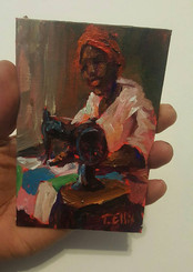Momma Sewing, 6x4, original minature painting by T. Ellis $725.00 www.tellisfineart.com