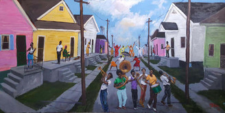 Living with Color and Culture, 11x17, poster, signed by T. Ellis $40.00 www.tellisfineart.com T. Ellis was commissioned to create five murals that hang permanently on the museum's exterior for all to see. The project was funded by the Arts Council of New Orleans. The unveiling was held on August 29, 2016, for the 11th anniversary of hurricane Katrina.    The Lower Ninth Ward Living Museum was created to celebrate the rich history of this unique neighborhood. Only one in five residents have been able to return to their homes, so many stories will be lost if we as a community fail to actively remember. The Living Museum features oral histories from community members, exhibits of key events from the history of the Lower Ninth Ward, and cultural events that entertain and educate.  The Living Museum was co-founded by Dr. Caroline Heldman and Ian Breckenridge-Jackson in 2011 in response to the painfully slow rebuilding of the Lower Ninth Ward. They have engaged in rebuilding efforts since Katrina and are now turning their efforts to remembering and celebrating the vibrant history and culture of this neighborhood.