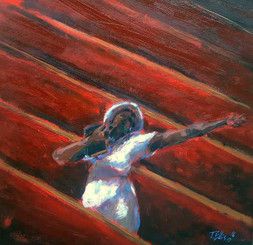 """Caught Up in the Spirit"", 15x15, framed T. Ellis original painting, $3450.00"
