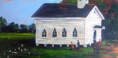 """Our Little White Church"", 8x16, framed T. Ellis original painting, $2850.00. A signature T. Ellis painting of a southern white church with the congregation gathering for church service. The Pastor is ready to preach a soul stirring sermon.  This little white church is seen throughout the South. T. Ellis is a great American painter that captures African-American lifestyle, history, and culture."