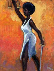 Lady Justice,Black lawyer.African American Culture, Paintings, Ellis Art, Buy Art, Purchase  S/N 250  28x22