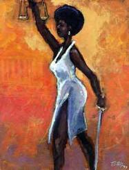 Lady Justice,Black lawyer.African American Culture, Paintings, Ellis Art, Buy Art, Purchase  S/N 250  28x22