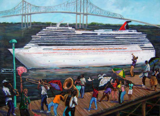 """The Crescent City Voyage"""", 18x24 print signed by T. Ellis $150.00.   T. Ellis Fine Arts brings art with a purpose to the Tom Joyner   Fantastic Voyage Cruise Famed NOLA artist creates original works to fund scholarships offered by the   Tom Joyner Foundation Houston, TX - March 24, 2017 –Fine Artist Ted Ellis has a special gift for those sailing with the Tom Joyner Foundation's Fantastic Voyage this year. The New Orleans born, Houston based artist, has created two original works to be auctioned to support the Foundation's goal of providing scholarships for HBCU bound students.   Ellis created two original works to celebrate both the spirit of his hometown of New Orleans, and the unique experience that is the Tom Joyner Fantastic Voyage. The 30 x 40 Crescent City Voyage features a traditional New Orleans 'second line' partying as a cruise ship sets sail. The second piece, a 24 x 36, is a closer view of the second line with the ship in dock, and revelers celebrating along with them. This piece has yet to be named, and Ellis is asking the cruisers to suggest a name for the piece. Both originals will be on display throughout the cruise and available for purchase, and two canvas replicas of the pieces will be available for bid, with a with a portion of the sale proceeds benefiting the Tom Joyner Foundation. For over 25 years Ellis has been painting and pictorially documenting African-American history, and using art as an instrument for preserving culture. Participating in this year's Tom Joyner Foundation Fantastic Voyage offers an opportunity for Ellis to expose his art to an expanded audience, while also contributing to the amazing work of the Foundation. """"My goal has always been to challenge folks to see the inherent value of art as a representation of our culture and heritage,"""" says Ellis. """"I cannot think of a better way to celebrate that than to offer up these works to support our young people academically. The Tom Joyner Foundation's Fantastic Voyage sets sail from"""