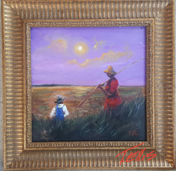 A Good Day to Fish, 15x15, T. Ellis original painting framed, 3650.00