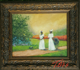 Sisters, 8x10 T. Ellis framed original painting, 2650.00