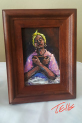 My Strength is Within the Word, 4x6, T. Ellis framed miniature original painting.  www.tellisfineart.com
