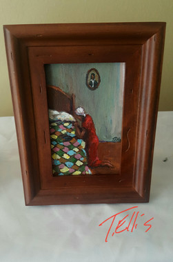 I Never Forget to Pray it is Where I Gain Strength, 4x6 T. Ellis framed miniature original painting www.tellisfineart.com