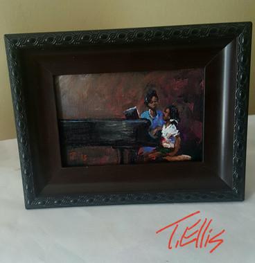 She's  My Prodigy, 4x6, T. Ellis framed miniature original painting.  www.tellisfineart.com
