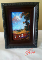 Enjoying Our Day, 6x4 T. Ellis  framed original miniature painting www.tellisfineart.com