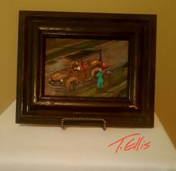 The Fruitman is in the.Neighborhood, 5x7 framed T. Ellis miniature painting www.tellisfineart.com