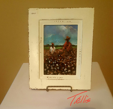 High in Cotton.5x7 framed T. Ellis  miniature painting www.tellisfineart.com