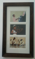 They are All Talented-framed T. Ellis tryptych of the little pianist, the violinist and dance rehearsal. Framed in mahogany with a double mat. Here is a great bargain, on sale for $30. Today only!!! Regular price $65.00