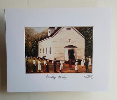 Sunday Worship Matted 8x10 Print