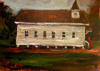 Where I Love to Come to Worship, 5x7 T. Ellis miniature original framed $1500.00
