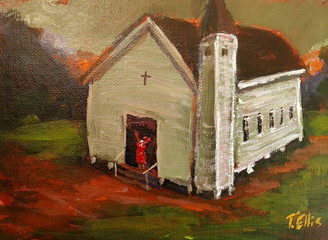 Our Soul Saving Church, 5x7 T. Ellis miniature original framed $1500.00