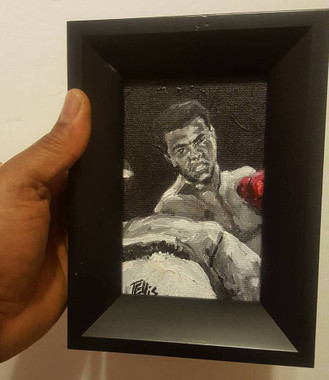 """""""The Real Champ...the People's Champ-Ali"""" , 6x4 in., framed miniature original  by T. Ellis"""